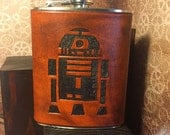 R2D2 Leather Flask Handcrafted Star Wars Fandom - Stainless Steel Flask - MADE TO ORDER - Custom Colors, 6oz & 8oz