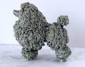 RESERVED for Lorraine ~ Lovely Gray Spaghetti POODLE Dog Figurine ~ Grey Poodle ~ Clay Pottery