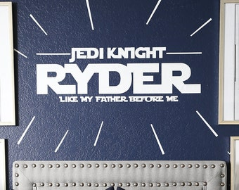 Personalized Jedi Knight Decal with star strips