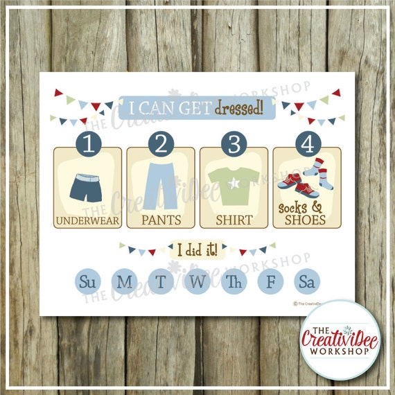 Getting Dressed Chart Steps to Get Dressed by CreativiDeeWorkshop