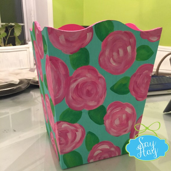 Hand-painted Monogram Wastebasket inspired by Lilly Pulitzer or other print