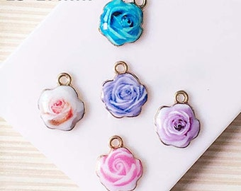 10pcs rose pattern alloy charms kawaii cabochon 17x13mm mix colors