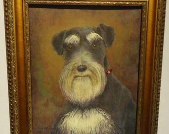 """Framed Schnauzer Dog Portrait Print from original 8x10 painting of our Gramma's Miss Bobbie Sox"""" by S Dunn"""