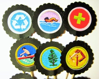 15 Boy Scout Badge Party Picks - Cupcake Toppers - Toothpicks - Food Picks - FP618