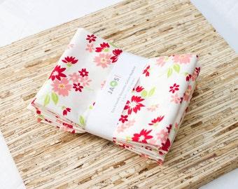 Large Cloth Napkins - Set of 4 - (N3005) - Red Pink Flower Modern Reusable Fabric Napkins