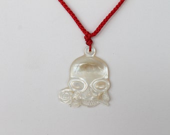 Carved White Shell Mother of Pearl Skull Flower Pendant on Red Twisted Silk Adjustable Cord