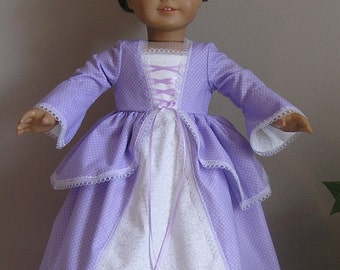 Colonial Lavender Cotton Dress with Pinner Cap for Felicity or Elizabeth AG or 18 Inch Doll
