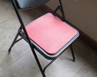 Vintage Child Samsonite Black Metal Folding Chair With Red Vinyl Seat