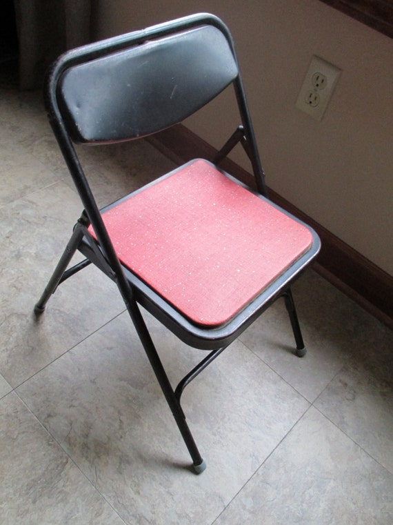 Vintage Child Samsonite Black Metal Folding Chair With Red