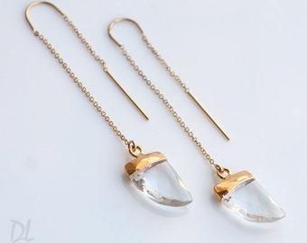Gemstone Horn Threader Earrings - Clear Quartz - Gold Ear Thread Earrings - Ear Threader Earrings - Minimal - Long Thin Earrings