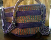 "Vintage 80's ""AFRICAN WOVEN PURSE""  Handbag / Bucket Style - Made in Africa"