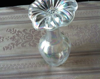 """Vintage 60's """"IRIDESCENT PERFUME BOTTLE"""" With Glass Flower Top Stopper"""