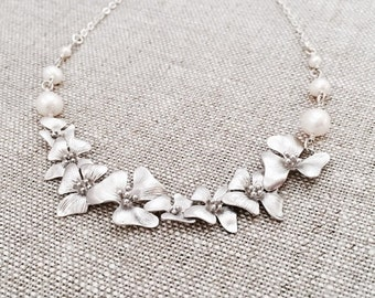 NEW// Silver Cherry Blossom Necklace, White Freshwater Pearls, Sterling Silver Chain, Cascading Blossom Flower Necklace