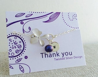 Personalized Orchid Bracelet, Purple Freshwater Pearl, Sterling Silver, Monogram Bracelet, June Birthstone
