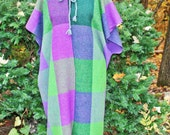 RESERVED FOR AUBREY:  Long wool hooded,  fringed cape, purple and green retro style long cape