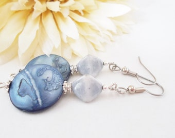 Mother of Pearl Drop Earrings, French Blue Earrings, Pewter Earrings, Slate Blue Gray Beaded Earrings, Statement Earrings, Nickel Free