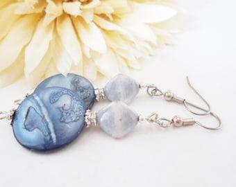 Mother of Pearl Drop Earrings, Boho Jewelry, French Blue Earrings, Pewter Earrings, Gift for Her, Statement Earrings, Nickel Free, Clip On