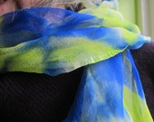 Silk Chiffon Scarf Hand Painted Dupont French Dyes - Electric Blue and Lemon Yellow