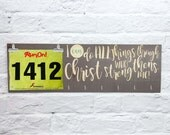 Running Medal Holder and Race Bib Hanger - I Can Do All Things Through Christ Philippians 4:13- running medal rack race bib and medal holder