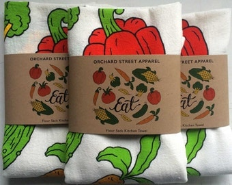 Eat veggies flour sack towel. Garden vegetable tea towel made in the USA with eco-friendly inks.