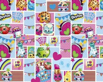 Shopkins Party Patch - Characters print cotton fabric by Springs Creative -