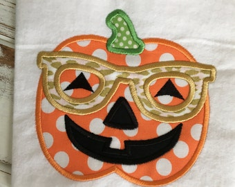 Pumpkin Glasses Jackolantern Halloween Appliqued/Embroidered Onesie/T-shirt