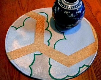 White, gold and green geometry - silk candle mat or table runner (round)