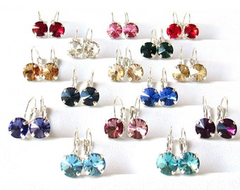 Crystal Earrings, Swarovski Earrings, CHOOSE COLOR, Crystal Earrings for Women, Silver Earrings, Drop Earrings, Gift for Woman, Gift for Her