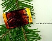 SALE Dichroic Fused Glass Barrette of Orange Bronze 1 3/4 inches in width 1 inch clasp