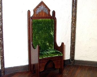 Walnut King Chair, Medieval Dollhouse Miniature, 1/12 Scale, Hand Made