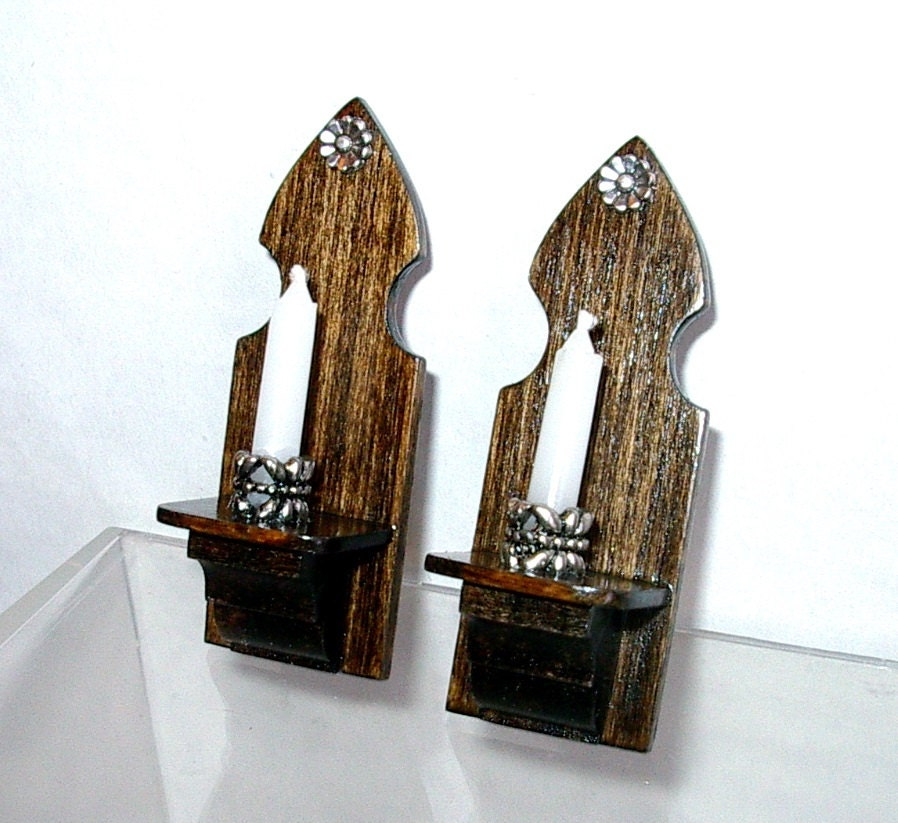 Gothic Candle Sconces Set of 2 Medieval Dollhouse Miniature