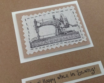 Birthday Card/Thank You Card/Vintage Sewing Machine/Quilter/Seamstress