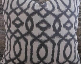 Designer Pillow Cover - Lumbar, 16 x 16, 18 x 18, 20 x 20, 22 x 22 - Lattice Ikat Dark Gray