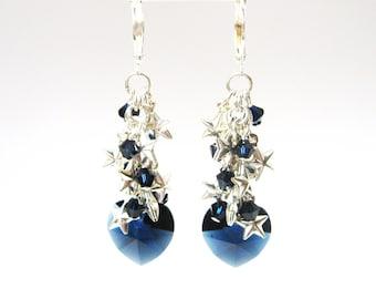 Navy Blue Heart Drop Earrings, Midnight Blue Heart and Star Cluster Earrings, Navy Blue and Silver Tone Earrings, Holiday Jewelry