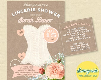 Bridal Shower Lingerie Invitation - Pink Blush Corset Lingerie Shower Invite
