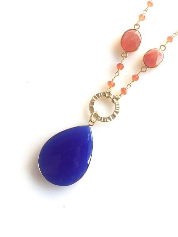 Long Gold Lapis Blue Stone Necklace. Layering Necklace. Long Blue Orange Stone Necklace. Beaded Necklace. Boho Jewelry. Pendant. Gift.