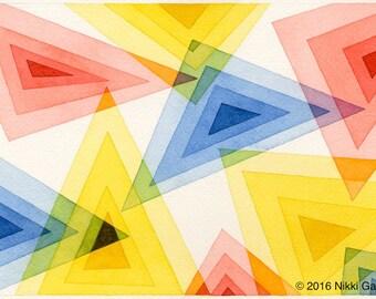 "Triangular Spectrum: original fine art watercolor colorful geometric triangles modern contemporary art 7""x10"" primary secondary colors"