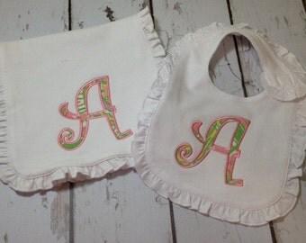 Monogrammed Baby Girl Bib and Burp Set with Monogram Appliqued