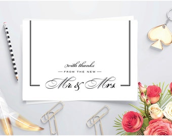Newlywed thank you ~ Printable Thank you card ~ Folded card ~ Thank you card for Wedding gift ~ New Mr and Mrs ~ Thank You note with border