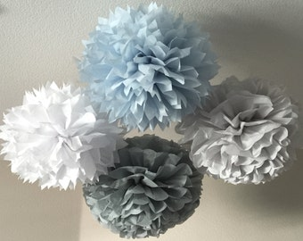 10 Tissue Pom Poms - Your Color Choice- SALE - Blue and Gray Elephant Birthday Party - Elephant boy shower - Decorations