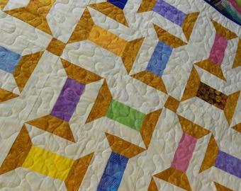 Quilt Pattern - Spooling Around - Batik Jelly Roll Quilt Pattern - Hard Copy Version