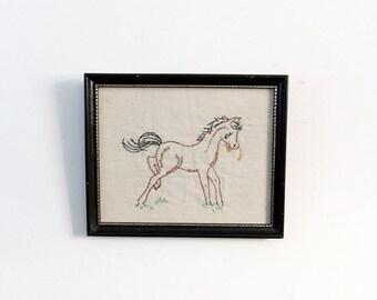 SALE vintage framed embroidery, horse art in frame
