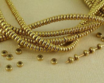 200 Brass Spacer Disk 3mm Heishi Disc Saucer Beads from India Flat Metal Beads Natural Heishe