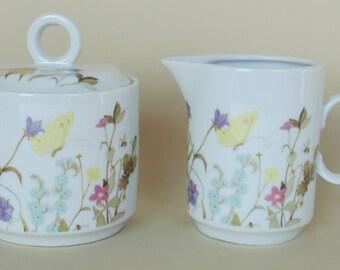 NATURE GARDEN SOCIETY Sugar Bowl With Lid & Creamer Enesco Fine China Pristine