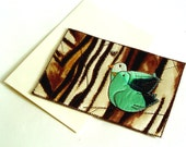 Anniversary card for a couple, Love birds, silk birds, mint green, brown, 12th Anniversary gift, silk anniversary card, woodland birds