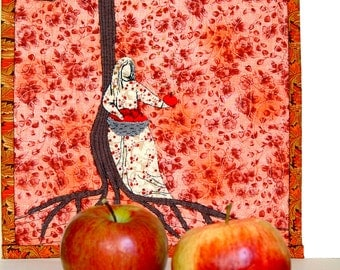 Apple tree, contemporary Art Quilt, apple Goddess Idunn, red brown cream, small textile artwork, embroidered apples, glass beads, wall art