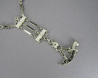 Black Enamel Necklace, Watch Chain Necklace, Sword Pendant, Edwardian, Victorian, Aesthetic Movement, Art Nouveau, Antique Chain