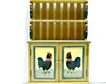 Vintage Child's Wood Cupboard Hutch Cabinet - Carved and Hand Painted with Roosters - Doll Furniture