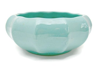 Vintage Haeger Art Pottery Planter - Ceramic Bowl - Blue Aqua