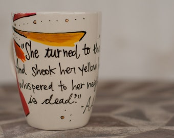 "A.A. Milne ""She turned to the sunlight And shook her yellow head"" Literary Quote Mug - Medium cream mug with sun"